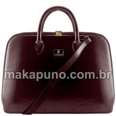 pasta executiva feminina em couro marrom liso para notebook de 14 15 16 polegadas