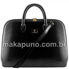 pasta executiva feminina em couro preto liso para notebook de 14 15 16 polegadas