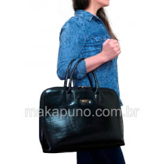pasta executiva feminina em couro preto liso para notebook de 14 15 16 polegadas ca461